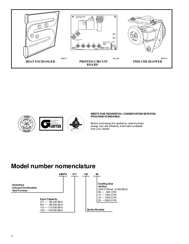 Carrier 58dfa 2pd Gas Furnace Owners Manual