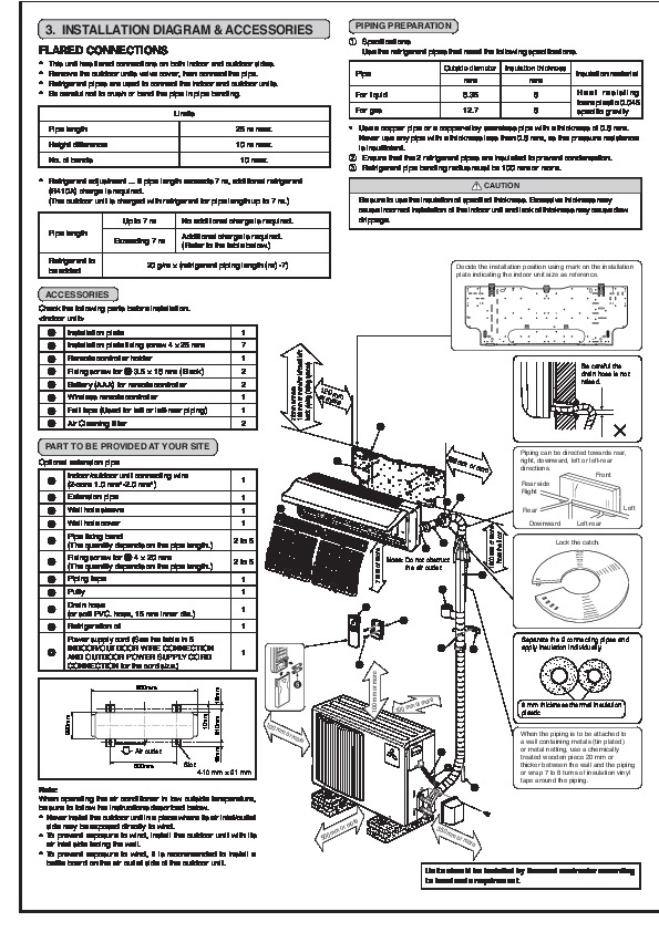 mitsubishi ms ga50vb msh ga50vb wall air conditioner installation manual. Black Bedroom Furniture Sets. Home Design Ideas