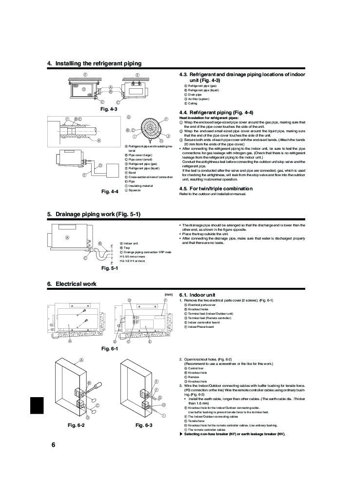 Mitsubishi Mr Slim PEA RP EA Ducted Air Conditioner Owners Installation Manual 6 mitsubishi mr slim pea rp ea ducted air conditioner installation manual