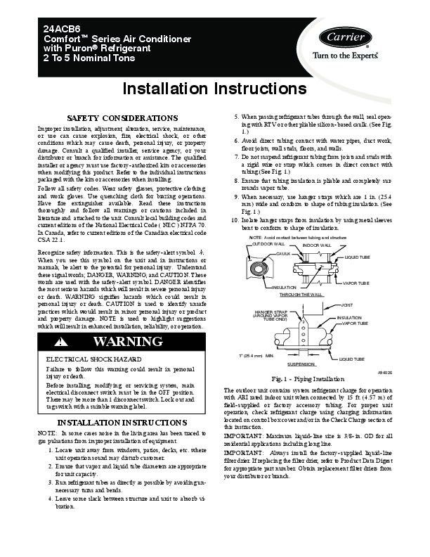 Carrier 24acb6 1si Heat Air Conditioner Manual Manual Guide