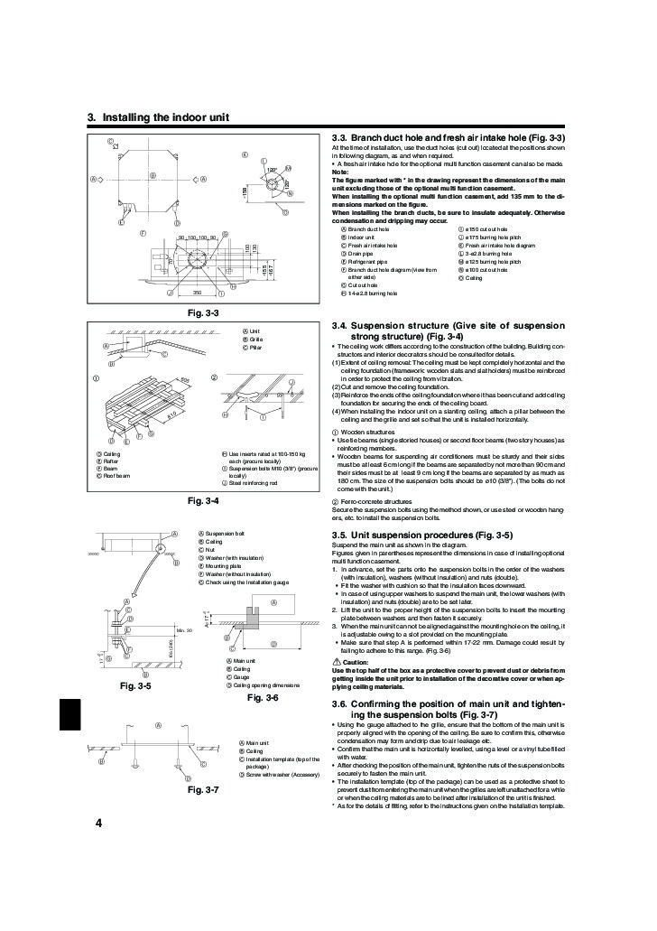 Mitsubishi Mr Slim BG79U156H02 RLA RP AA Ceiling Cassette Air Conditioner  Installation Instructions Page 4