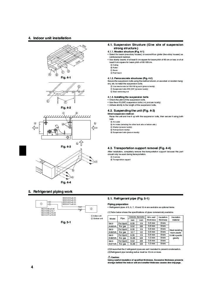 mitsubishi mr slim sez ka35 ka50 ka60 ka71va ducted air conditioner installation manual. Black Bedroom Furniture Sets. Home Design Ideas
