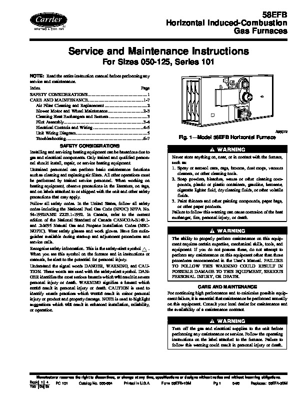 Carrier 58efb 1sm Gas Furnace Owners Manual