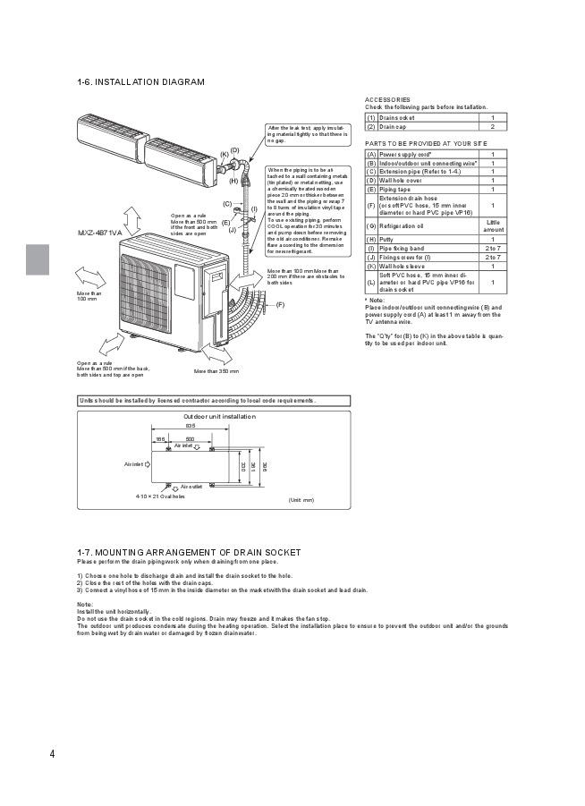 mitsubishi mxz 3b54va mxz 4b71va air conditioner
