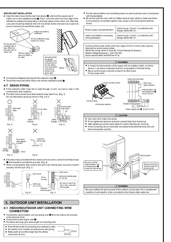 Mitsubishi msz gb35va muz gb35va wall air conditioner installation mitsubishi msz gb35va muz gb35va wall air conditioner installation manual page 5 publicscrutiny Images