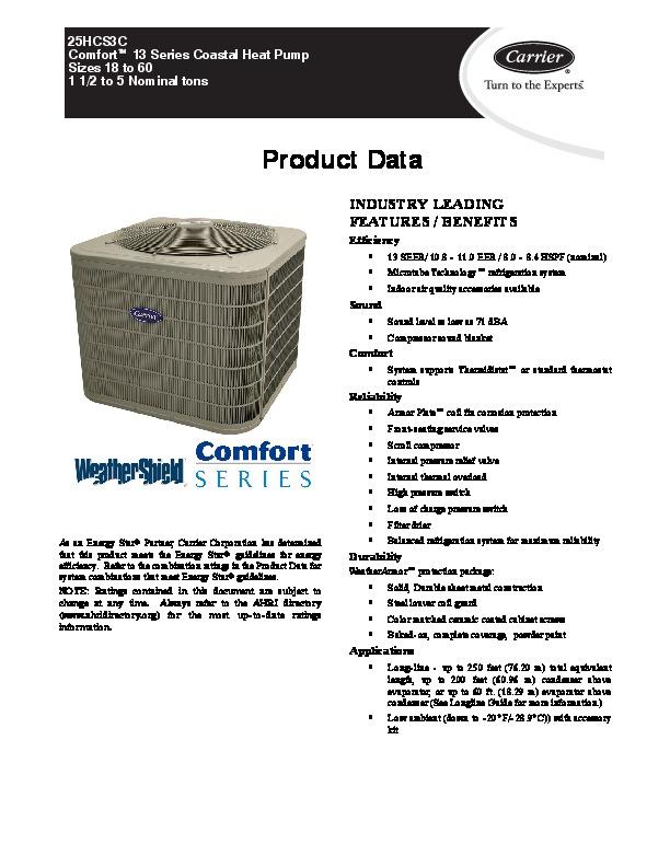 carrier 25hcs3c 2pd heat air conditioner manual carrier infinity heat pump owner's manual Carrier 3.5 Ton Heat Pump