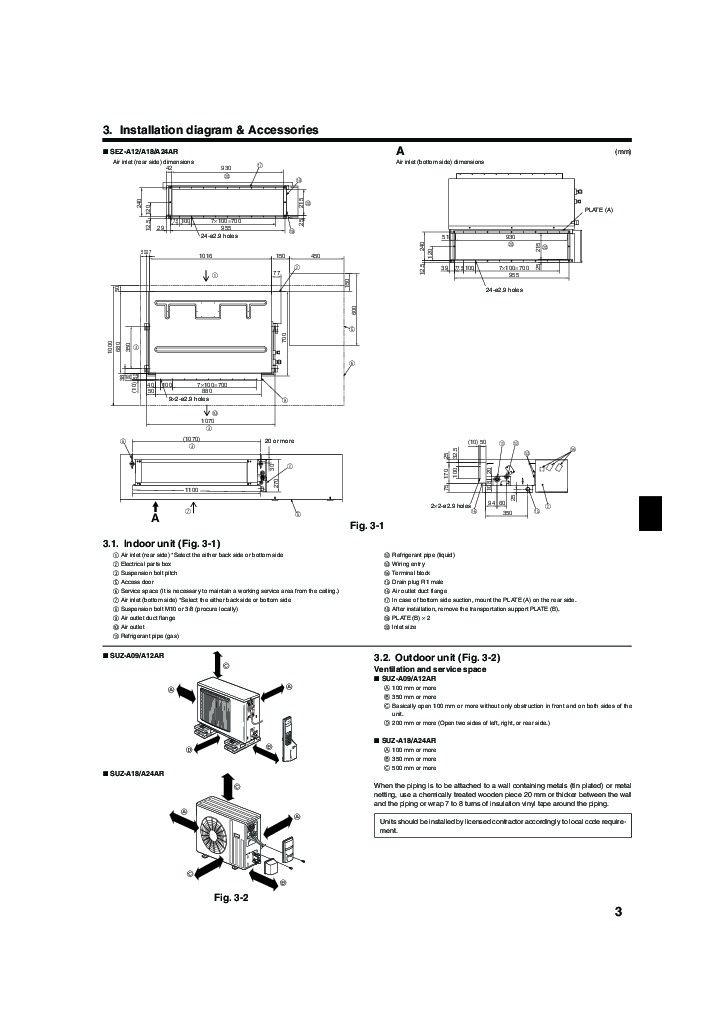 Mitsubishi Mr Slim SEZ A12 A18 A24AR Ducted Air Conditioner Owners Installation Manual 3 mr slim wiring diagram diagram wiring diagrams for diy car repairs mitsubishi mr slim wiring diagram at mifinder.co
