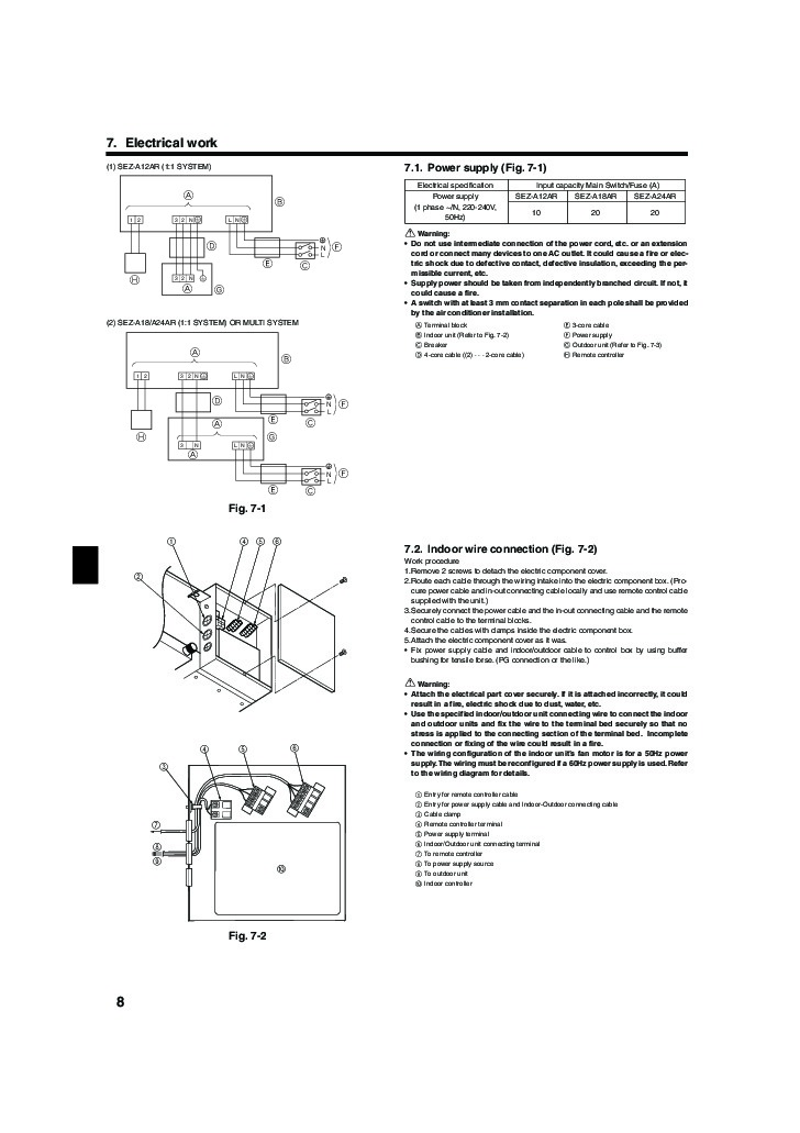 mitsubishi mr slim sez a12 a18 a24ar ducted air conditionerinstallation manual