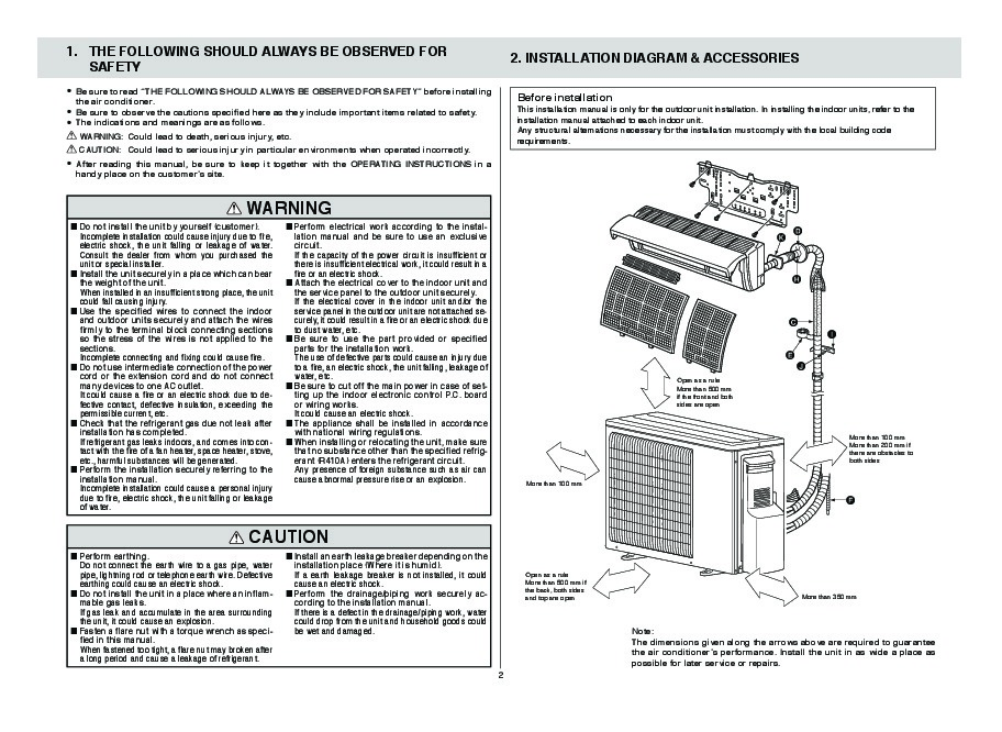 Mitsubishi Mxz 2a52va Air Conditioner Installation Manual