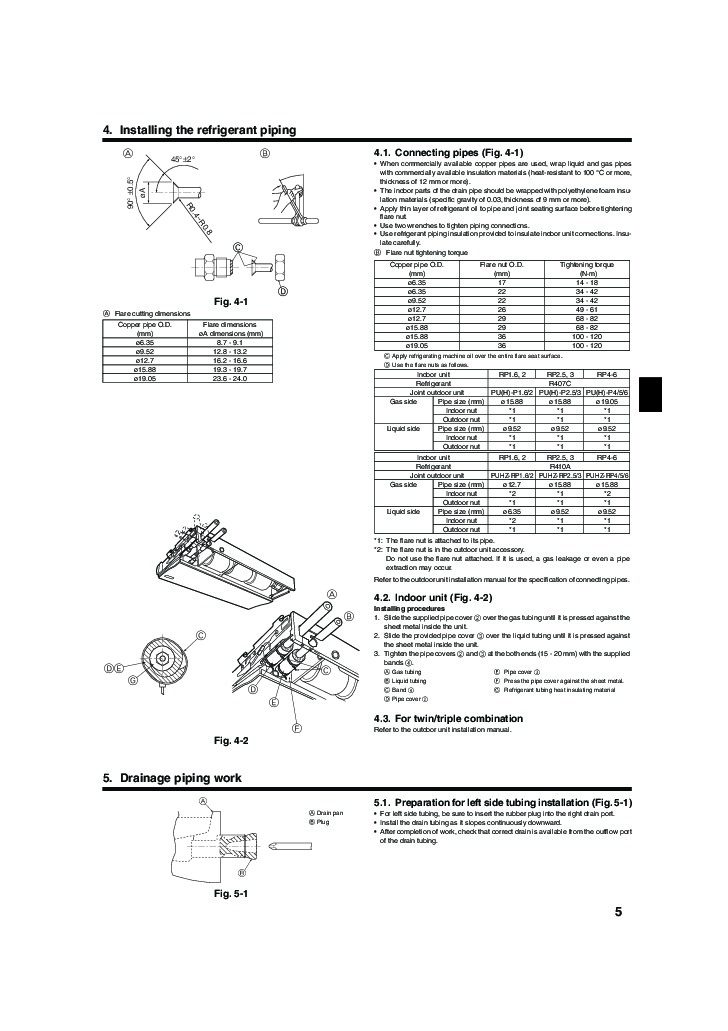 mitsubishi mr slim pca rp ga ceiling suspended air conditioner installation manual