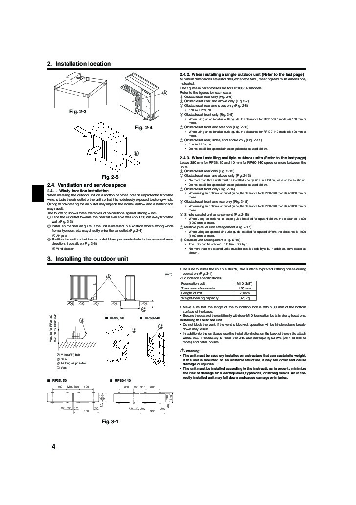 Mitsubishi Mr Slim PUHZ RP HA2 Air Conditioner Owners Installation Manual 4 mitsubishi mr slim puhz rp ha2 air conditioner installation manual
