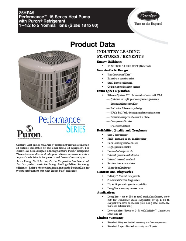 Carrier 25hpa5 2pd Heat Air Conditioner Manual