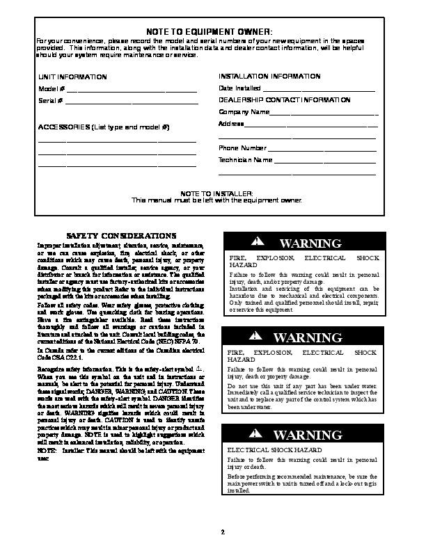 Carrier 50ez Vt 03 Heat Air Conditioner Manual Manual Guide