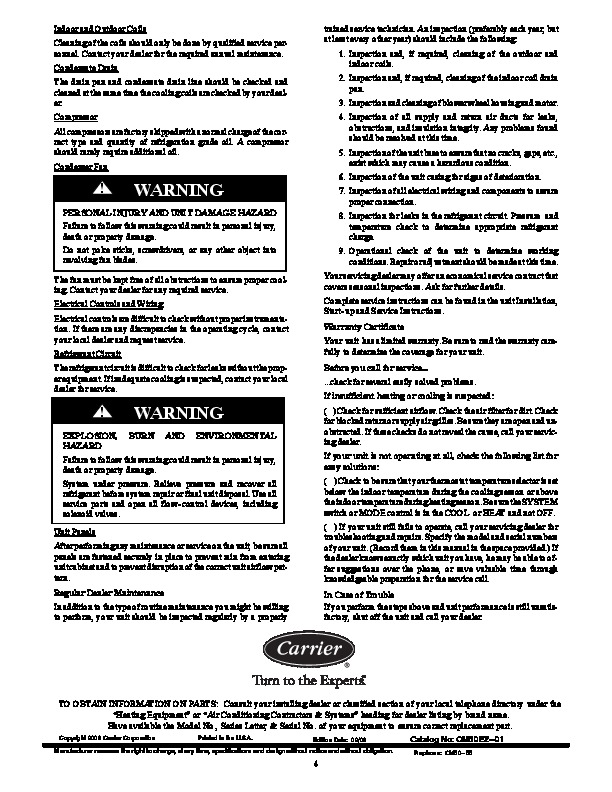 Carrier 50ez 01 Heat Air Conditioner Manual