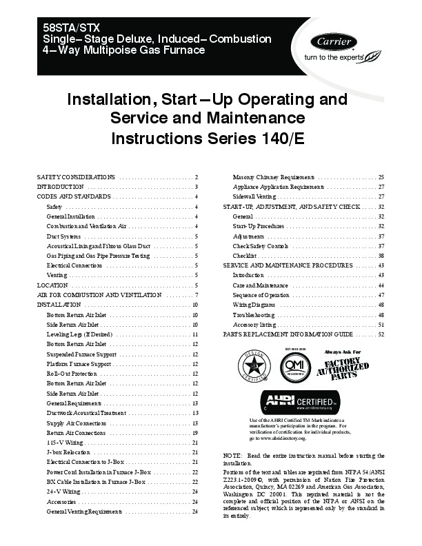 carrier 58sta stx. carrier 58st 20si gas furnace owners manual on dimensions, 58sta stx