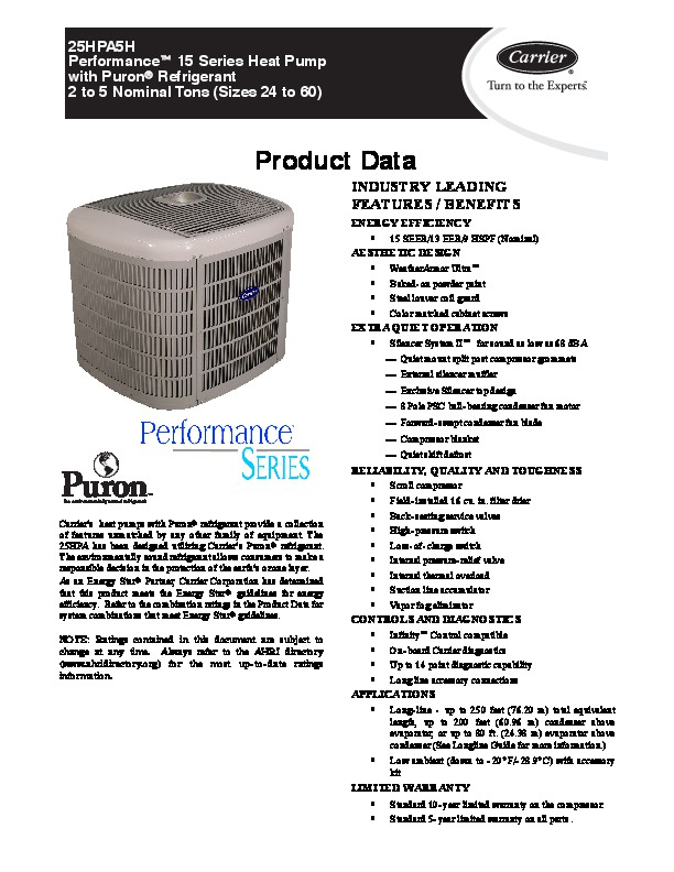 Carrier 25hpa5h 2pd Heat Air Conditioner Manual