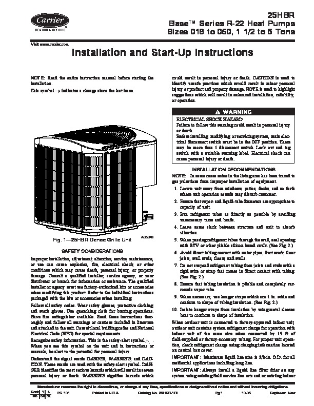 carrier 25hbr 1si heat air conditioner manual Carrier 3.5 Ton Heat Pump carrier heat pump owners manual