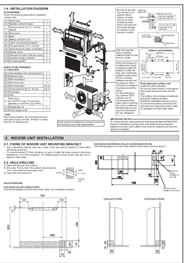 Mitsubishi JG79A145H03 Floor Mounted Air Conditioner Owners Installation Manual 2 mitsubishi hvac unit mitsubishi home air air conditioner,Mitsubishi Air Conditioning Wiring