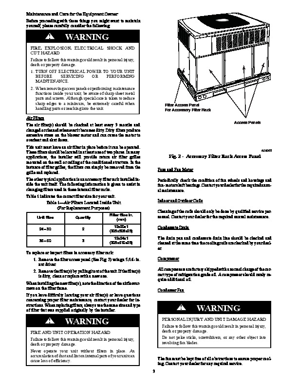Carrier 50xl 01 Heat Air Conditioner Manual