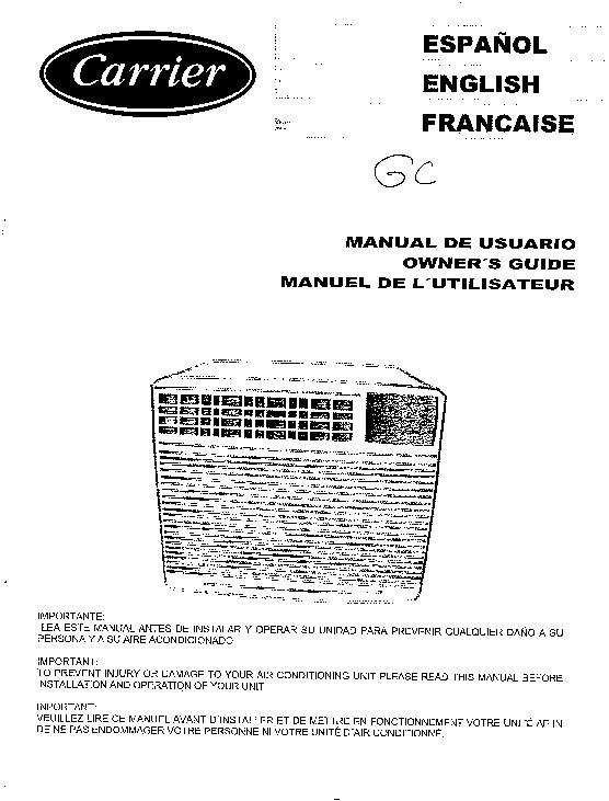 carrier 73lga 1si heat air conditioner manual