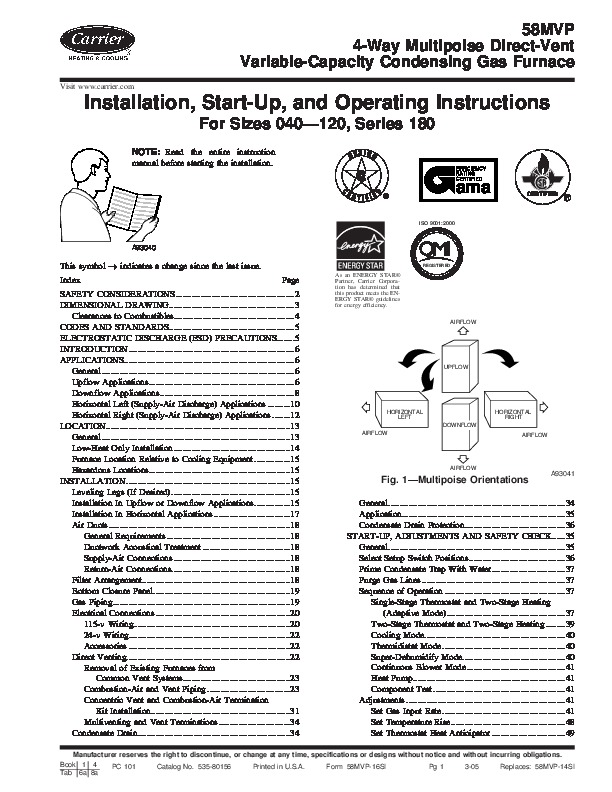 carrier 58mvp 16si gas furnace owners manual rh needmanual com Model Manual 12 Carrier Parts Furnace 58Pavo70 carrier infinity gas furnace installation manual