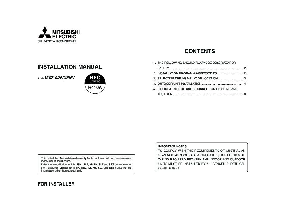 Mitsubishi Mxz A26 32wv Air Conditioner Installation Manual Manual Guide