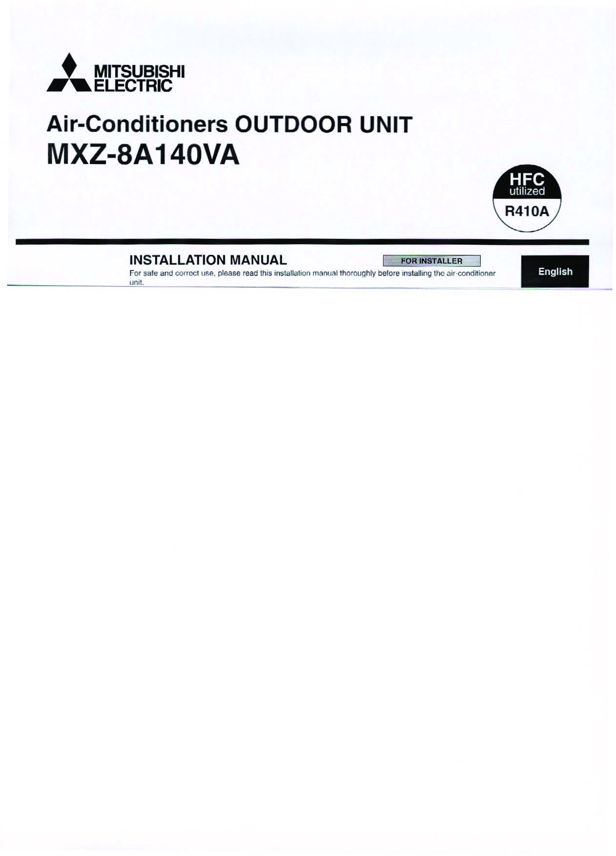 Mitsubishi Mr Slim PEA MXZ 8A140VA Air Conditioner Owners Installation Manual 1 mitsubishi mr slim pea mxz 8a140va air conditioner installation manual