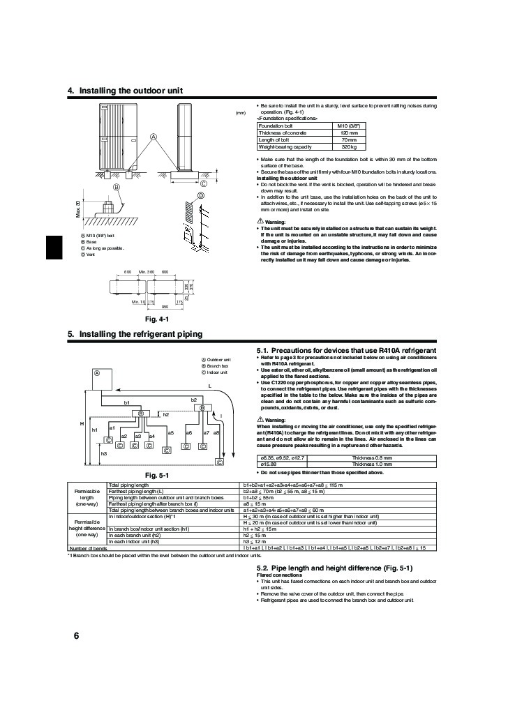 Mitsubishi Mr Slim PEA MXZ 8A140VA Air Conditioner Owners Installation Manual 6 mitsubishi mr slim pea mxz 8a140va air conditioner installation manual