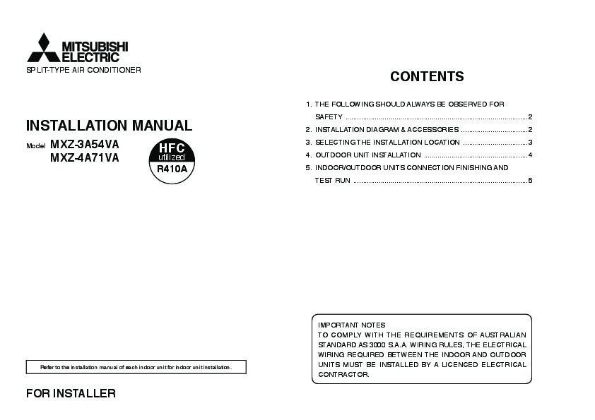 mitsubishi split type air conditioner manual