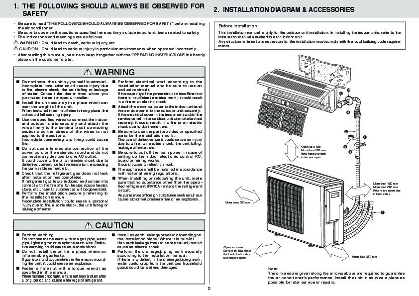 Mitsubishi MXZ 3A54VA MXZ 4A71VA Air Conditioner Owners Installation Manual 2 mitsubishi mxz 3a54va mxz 4a71va air conditioner installation manual