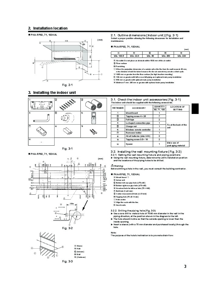 mitsubishi mr slim pka rp kal wall air conditioner installation manual