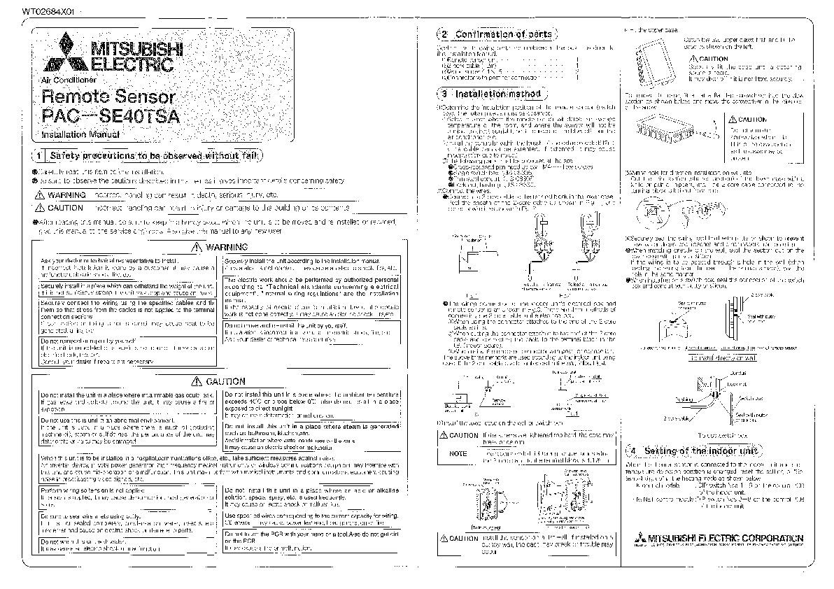 Mitsubishi Pac Se40tsa Remote Sensor Air Conditioner