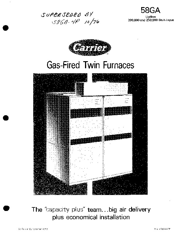 Carrier 58ga 2p gas furnace owners manual page 1