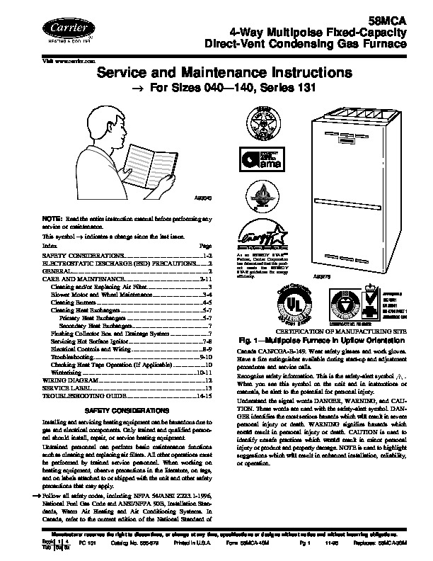 carrier 58mca 4sm gas furnace owners manual rh needmanual com American Modern Carrier Carrier Jets