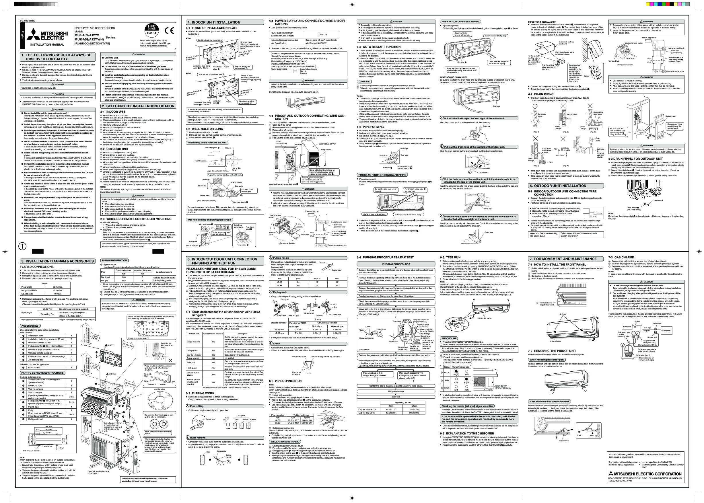 Mitsubishi Msz A09 A12yv Muz H Wall Air Conditioner M Series Wiring Diagram Installation Manual