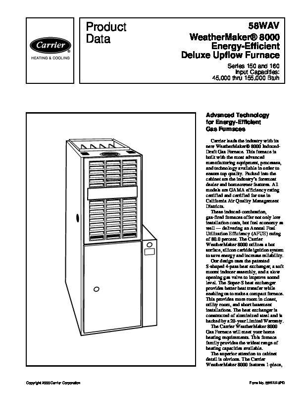 Carrier Furnace Carrier Furnace Owners Manual