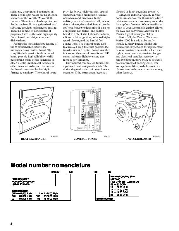 Carrier Weathermaker 8000 Furnace manual