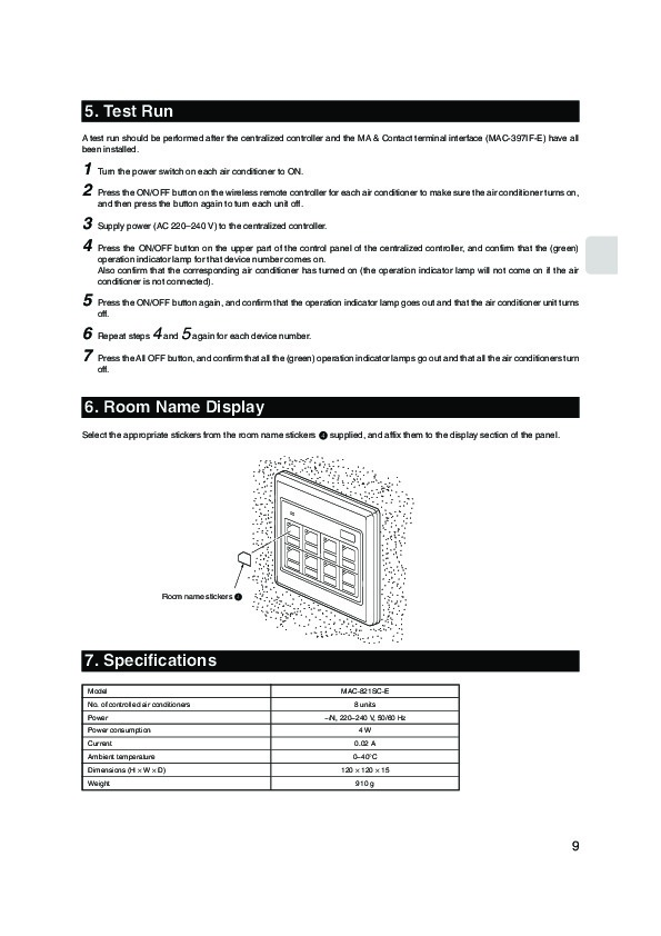 Mitsubishi mac 821sc e remote controller air conditioner mitsubishi mac 821sc e remote controller air conditioner installation manual page 9 publicscrutiny Images