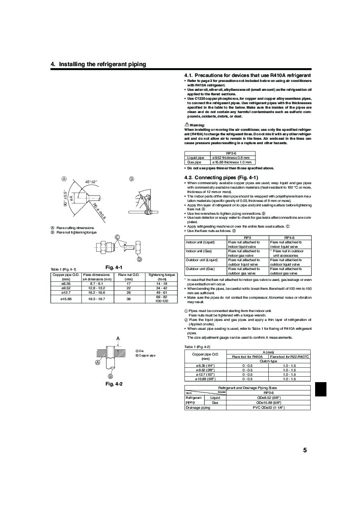 Mitsubishi Mr Slim PUHZ RP HA A Air Conditioner Owners Installation Instructions Manual 5 mitsubishi mr slim puhz rp ha a air conditioner installation manual