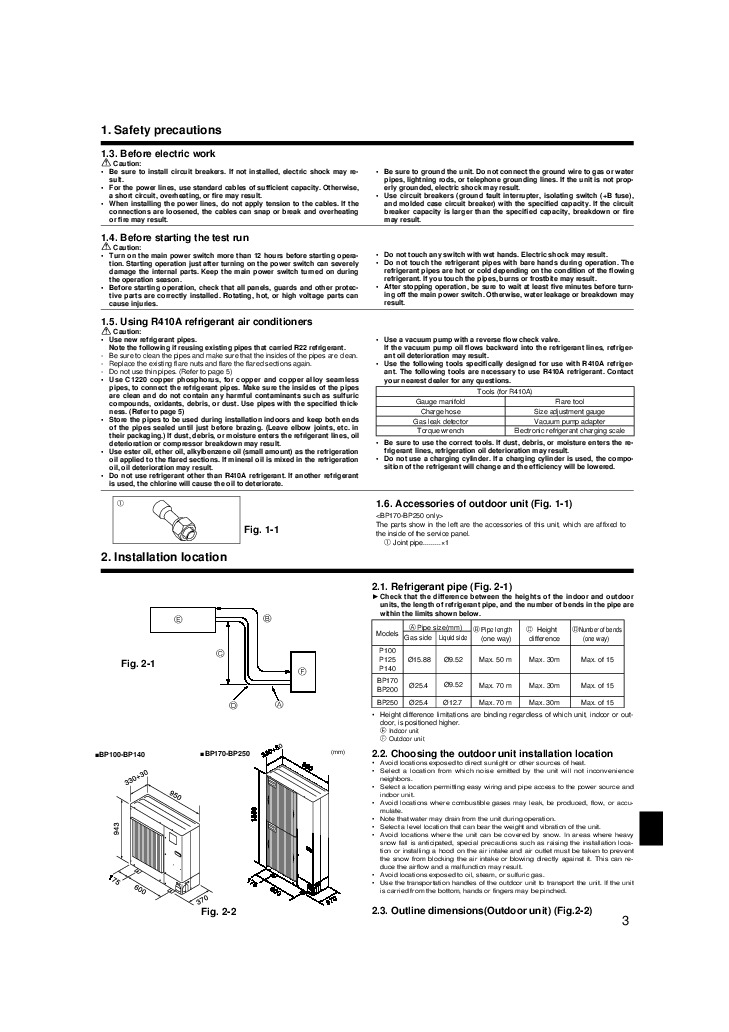 Mitsubishi Mr Slim PUHZ BP HA Air Conditioner Owners Installation Manual 3 mitsubishi mr slim puhz bp ha air conditioner installation manual