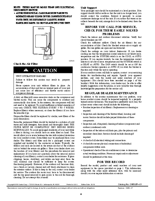 Carrier 50zp 01 Heat Air Conditioner Manual Manual Guide