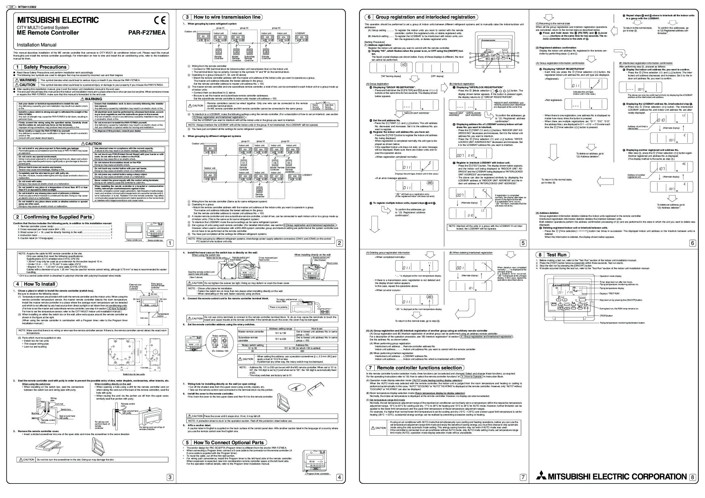 Mitsubishi Mr Slim PAR F27MEA Remote Controller Air Conditioner Installation Instructions