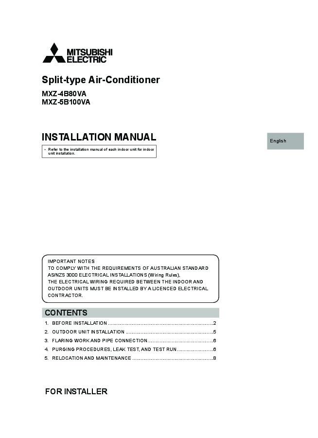 mitsubishi mr slim mxz 4b80va mxz 5b100va air conditioner rh needmanual com Mitsubishi Mr. Slim Thermostat Mitsubishi Mr. Slim Air Conditioner