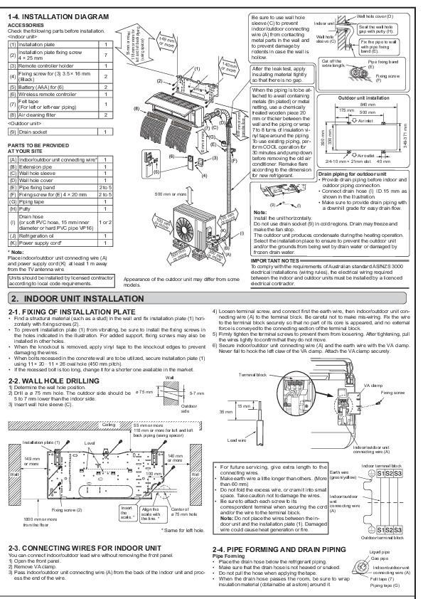 Mitsubishi jg79a241h01 wall air conditioner installation manual publicscrutiny Images