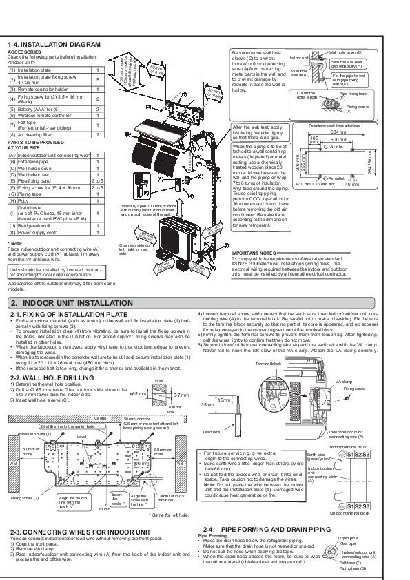 mitsubishi jg79a165h02 wall air conditioner installation
