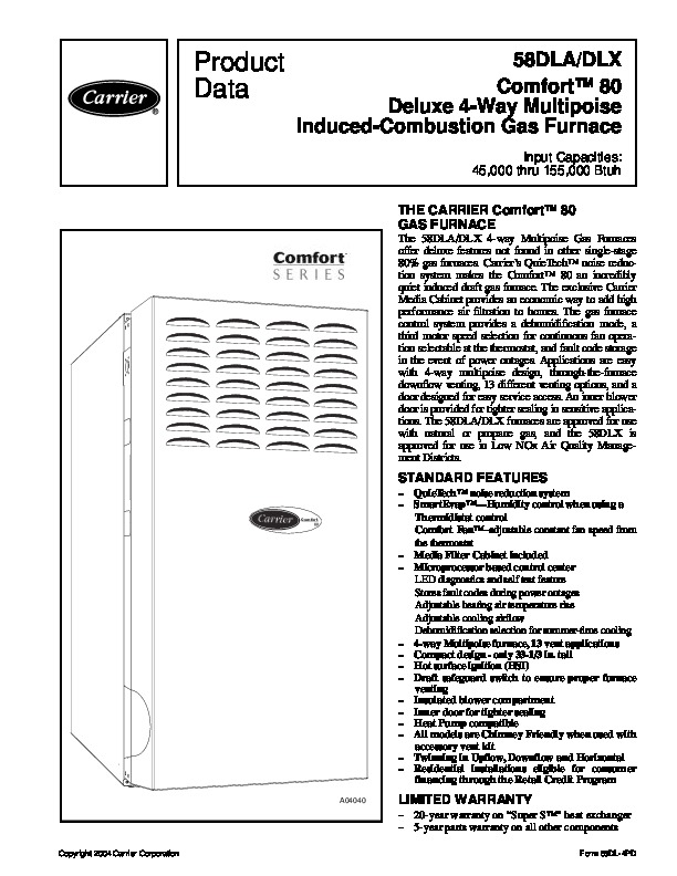 Carrier 58dl 4pd Gas Furnace Owners Manual