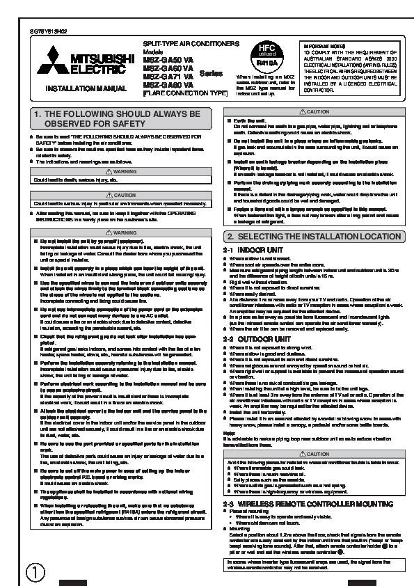 mitsubishi mr slim msz ge15na manual