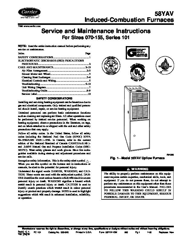 carrier 58yav 1sm gas furnace owners manual rh needmanual com Carrier Jets Air Carrier