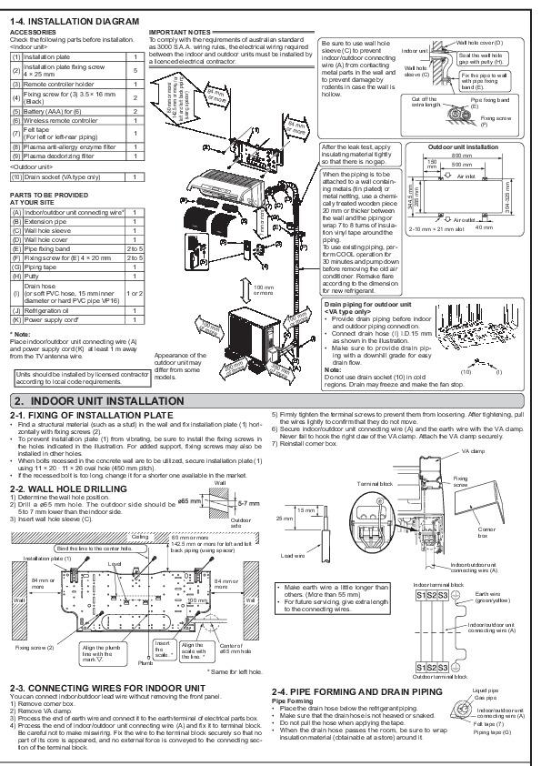 mitsubishi jg79a082h02 wall air conditioner installation
