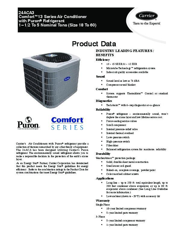 Carrier Puron 38GLS-07G-703EC-40 Air Conditioner ...